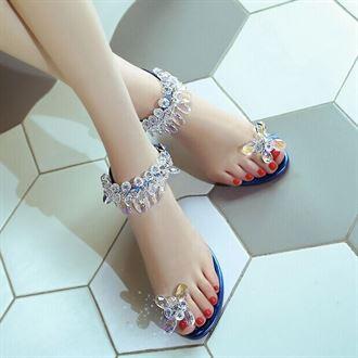 2016夏季欧美新款水钻凉鞋休闲平底真皮女鞋套趾扣带式平跟罗马鞋