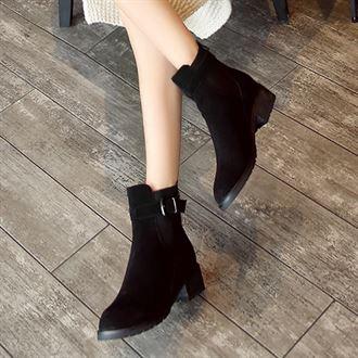 2016秋冬季韩版真皮圆头防水台低跟短靴单靴女靴子粗跟厚底马丁靴