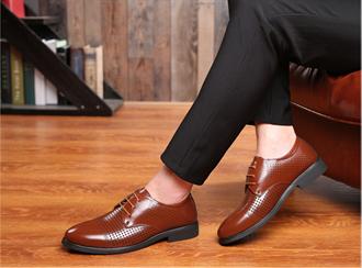 正装男士皮鞋男尖头夏季黑色男鞋英伦商务青年韩版休闲鞋子透气软