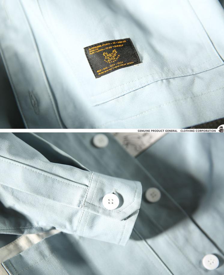 战国联盟 麒麟先生秋季美式工装衬衫外套 日系潮男印花拼色衬衣